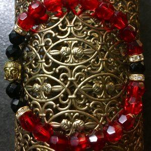 rotes Glas und Metall, Buddha